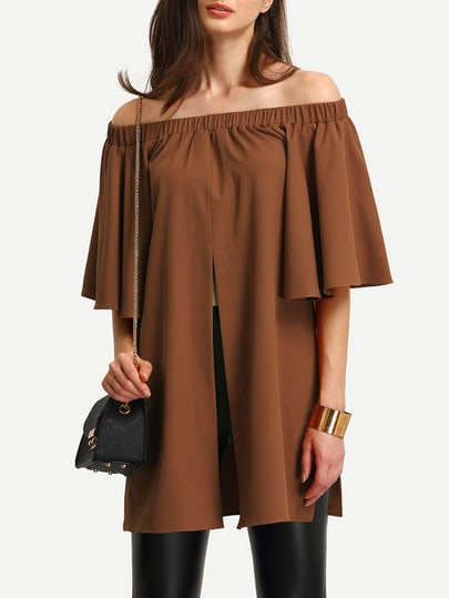 Shirred Off The Shoulder Split Front Blouse