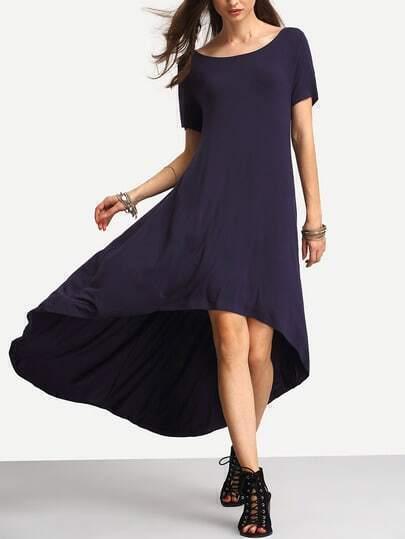 Deep Blue Dip Hem Casual Midi Dress