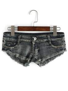 Frayed Broken Pocket Tiny Denim Shorts