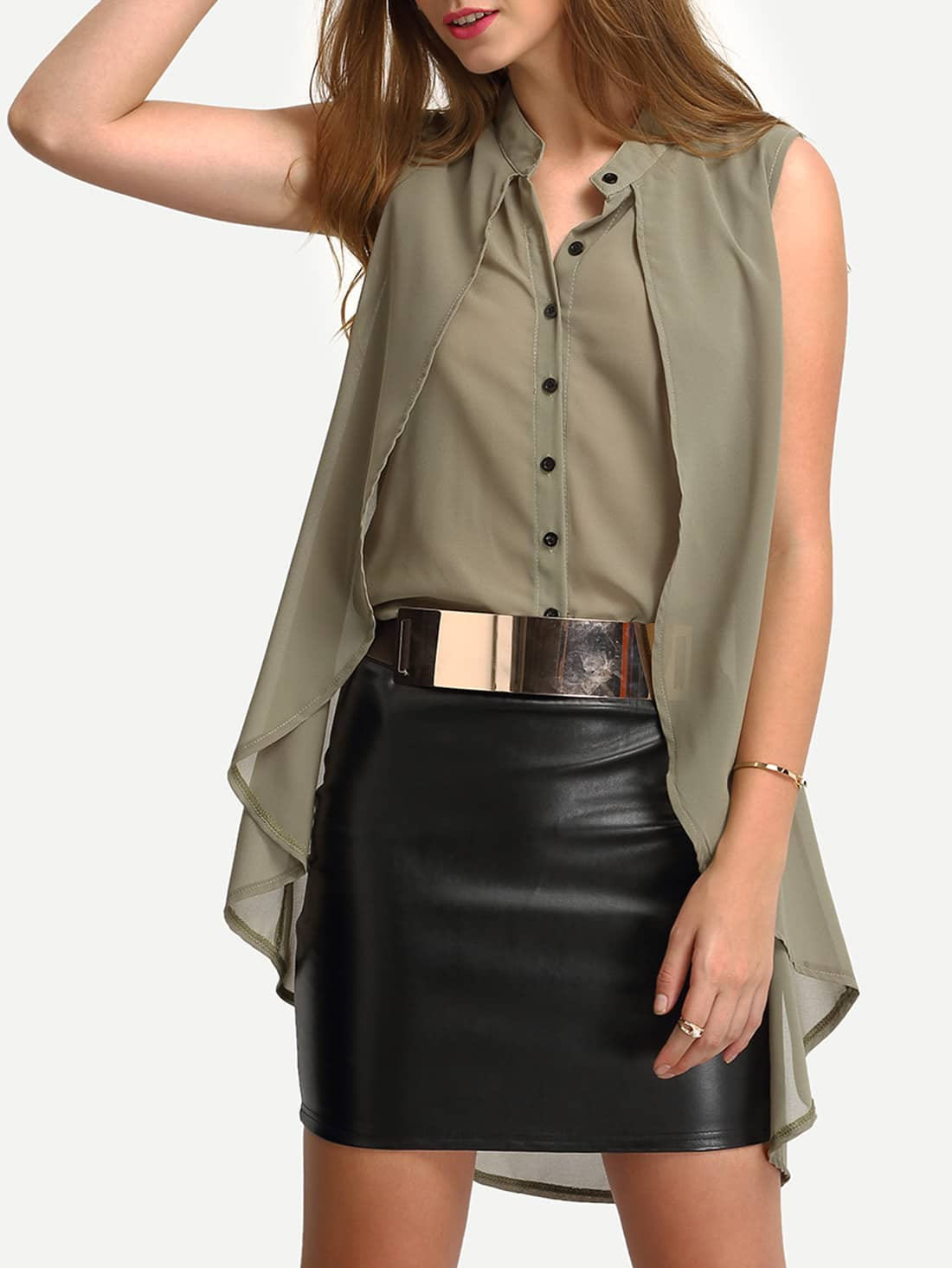 Collarless Layered High Low Blouse