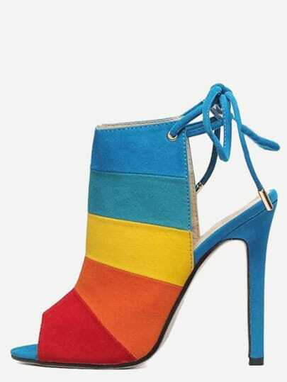 Color Block High Vamp Lace-Up Sandals - Multi