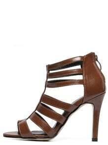 Caged Back Zip Heeled Sandals - Brown