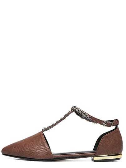 Chain T-Strap D'orsay Flats - Brown