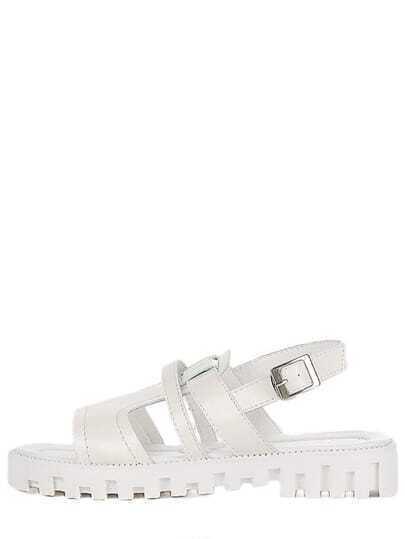 Caged Ankle Strap Flatform Sandals - White