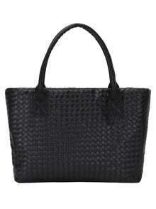 Faux Leather Braided Tote Bag