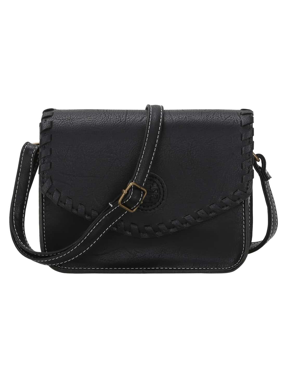 faux leather braided flap crossbody bag shein sheinside