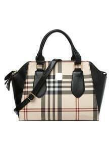 Faux Leather Plaid Structured Handbag