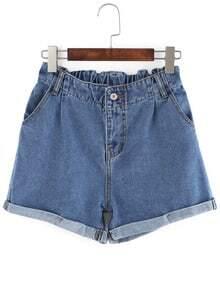 Elastic Waist Roll Hem Denim Shorts