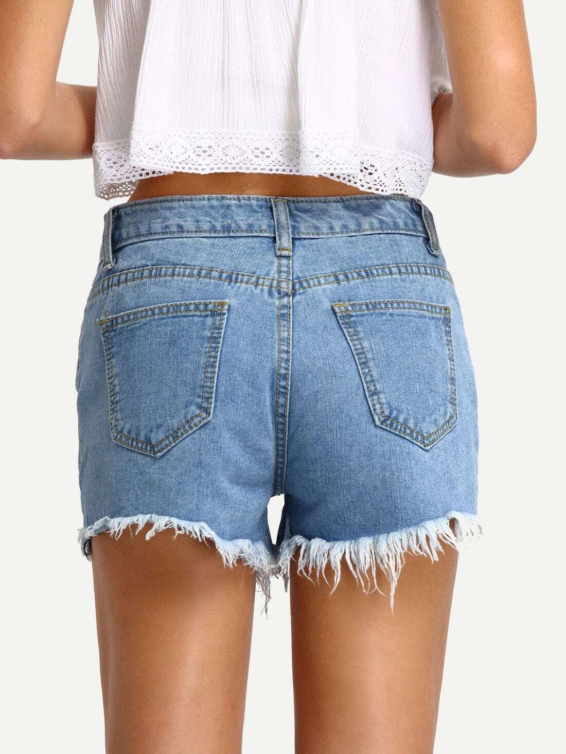 Ripped Light Blue Denim Shorts -SheIn(Sheinside)