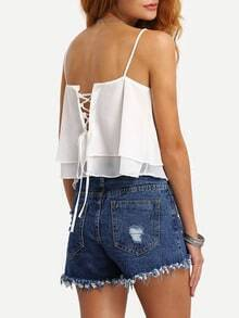 Lace-Up Layered Chiffon Cami Top - White