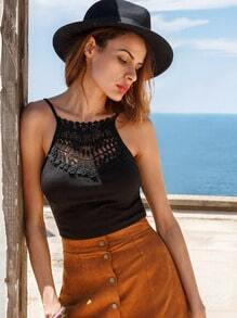 Crochet Neck Crisscross Crop Cami Top - Black