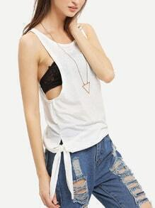 White Knotted Tank Top