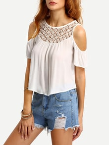 Crochet Neck Open Shoulder Blouse
