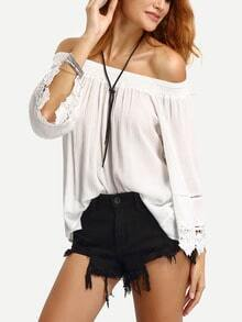Off-The-Shoulder Lace Trimmed Blouse - White
