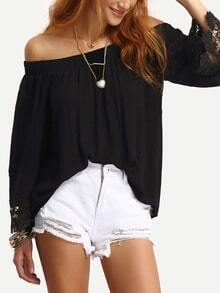 Off-The-Shoulder Lace Trimmed Blouse - Black