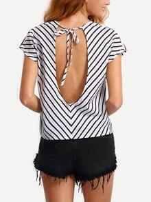 Striped Cutout Back T-shirt
