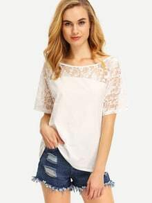 Lace Inset Boat Neck T-shirt