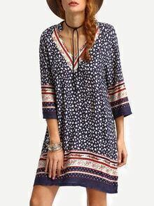 V-Neck Floral Print Tunic Dress