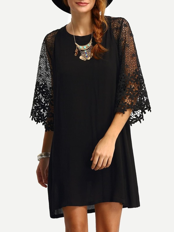 Hollow Out Crochet Sleeve Tunic Dress, Lorena