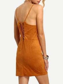 Faux Suede Lace-Up Back Cami Dress