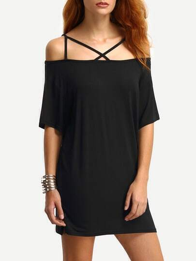 Cold Shoulder Crisscross Dress - Black