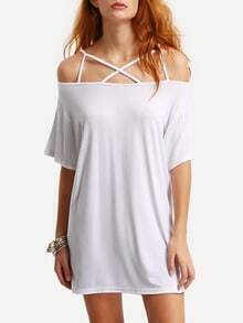 Off-The-Shoulder Crisscross Dress - White