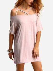 Off-The-Shoulder Crisscross Dress - Light Pink