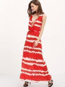 Tie Tye Striped Surplice Front Slit Maxi Dress