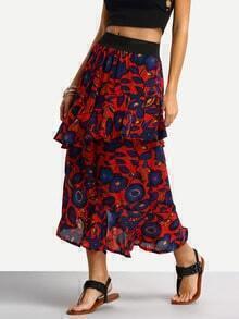 Contrast Waist Flower Print Layered Skirt