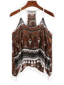 Tribal Print Fringe Cami Top