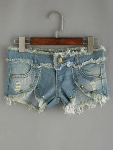 Bleached Studded Frayed Denim Shorts