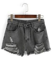 Grey Ripped Frayed Denim Shorts