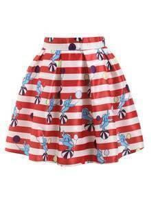 Red Striped Elephant Print Flare Skirt