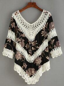 V Neck Crochet Florals Shirt