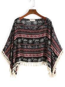 Aztec Print Fringe Black Red Shirt