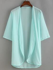 Pale Blue Elbow Sleeve Chiffon Shirt
