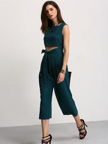Green Cut Out Lace Up Jumpsuit