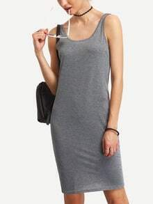 Grey Scoop Back Tank Dress