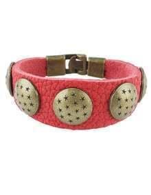 Red Pu Leather Bracelet