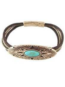 Gold Plated Turquoise Magnetic Bracelet