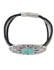Silver Plated Turquoise Magnetic Bracelet
