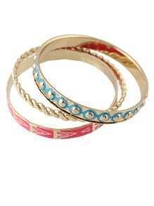 Three Piece Enamel Bracelet Set