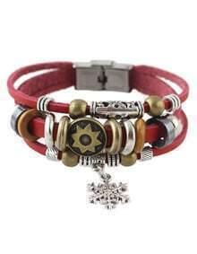 Red Multilayers Pu Wrap Bracelet