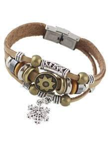 Khaki Multilayers Pu Wrap Bracelet