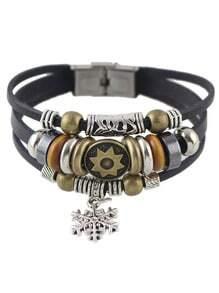 Black Multilayers PU Wrap Bracelet