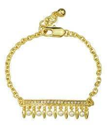 Gold Plated Rhinestone Pearl Bracelet