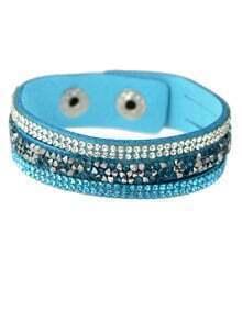 Lightblue Wide Pu Leather Bracelet