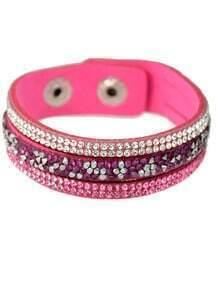 Hotpink Wide Pu Leather Bracelet