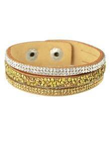 Champagne Wide Pu Leather Bracelet