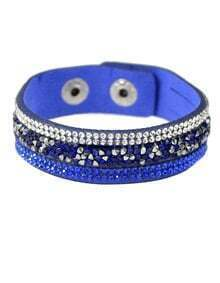 Darkblue Wide Pu Leather Bracelet
